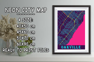 Print on Demand: Oakville - Canada Neon City Map Graphic Photos By tienstencil