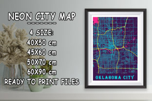 Print on Demand: Oklahoma City - United States Neon Map Graphic Photos By tienstencil