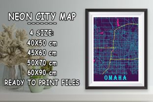 Print on Demand: Omaha - United States Neon City Map Graphic Photos By tienstencil