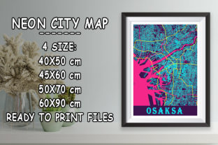 Print on Demand: Osaksa - Japan Neon City Map Graphic Photos By tienstencil