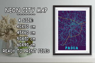 Print on Demand: Padua - Italy Neon City Map Graphic Photos By tienstencil