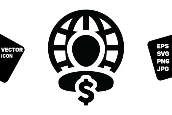 Print on Demand: Pay Icon Vector Globe Dollar Currency Graphic Icons By TukTuk Design