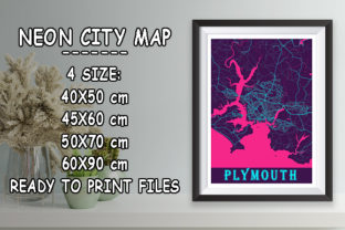 Print on Demand: Plymouth - United Kingdom Neon City Map Graphic Photos By tienstencil