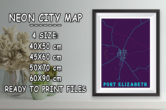 Print on Demand: Port Elizabeth - South Africa Neon Map Graphic Photos By tienstencil