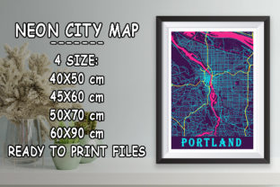Print on Demand: Portland - United States Neon City Map Graphic Photos By tienstencil