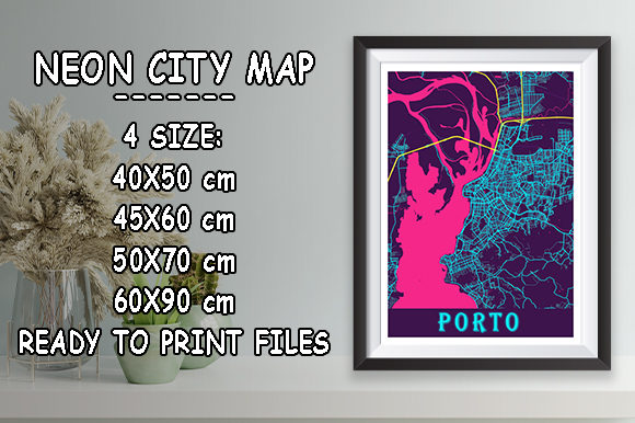 Print on Demand: Porto - Portugal Neon City Map Graphic Photos By tienstencil