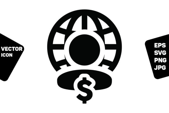 Print on Demand: Profile Icon Globe Dollar Sign Vector Graphic Icons By TukTuk Design
