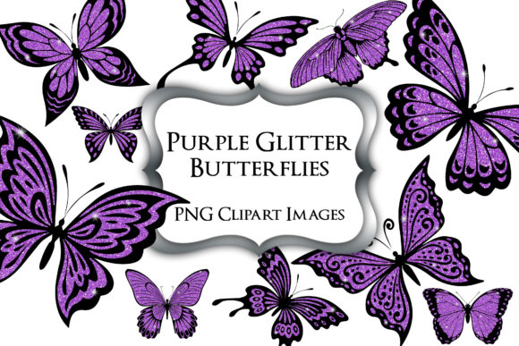 Print on Demand: Purple Glitter Butterflies PNG Clipart Graphic Illustrations By Party Pixelz