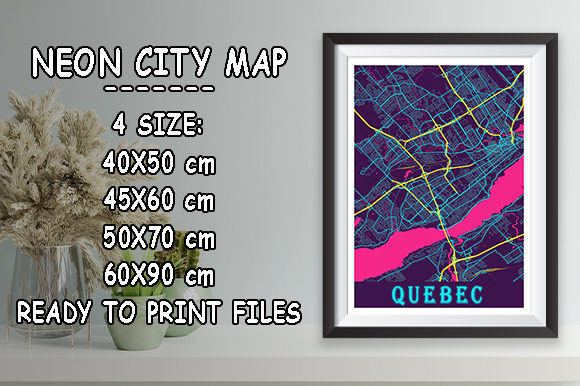 Print on Demand: Quebec - Canada Neon City Map Graphic Photos By tienstencil