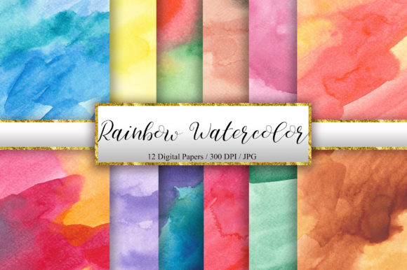 Rainbow Watercolor Texture Background Graphic Backgrounds By PinkPearly