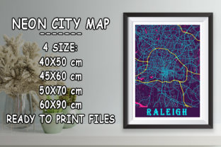 Print on Demand: Raleigh - United States Neon City Map Graphic Photos By tienstencil