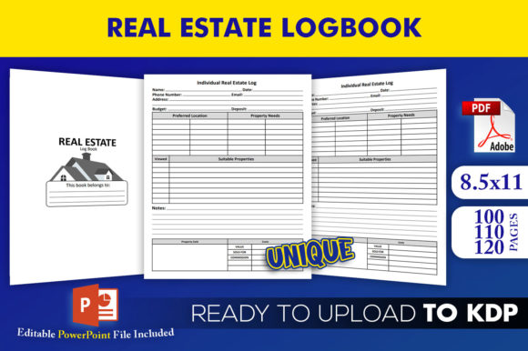 Print on Demand: Real Estate Logbook KDP InteriorTemplate Graphic KDP Interiors By Beast Designer