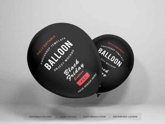 Print on Demand: Realistic Party Balloon PSD Mockup Graphic Product Mockups By dendysign