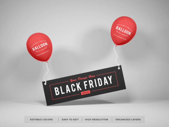 Print on Demand: Realistic Party Balloon Photoshop Mockup Graphic Product Mockups By dendysign