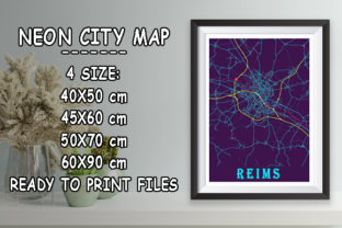 Print on Demand: Reims - France Neon City Map Graphic Photos By tienstencil
