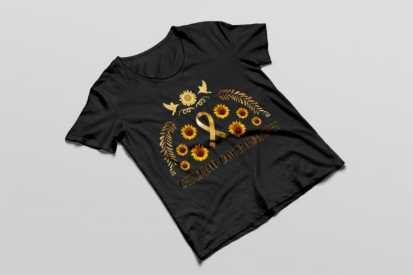 Ribbon Gold Symbol for Childhood Cancer Graphic Illustrations By baigern