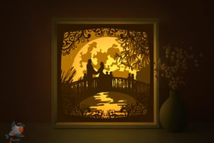 Romantic Love Pair 3D Light Box Template Graphic 3D Shadow Box By SweetieGraphics