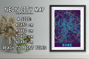 Print on Demand: Rome - Italy Neon City Map Graphic Photos By tienstencil