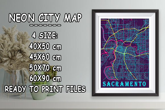 Print on Demand: Sacramento - United States Neon City Map Graphic Photos By tienstencil