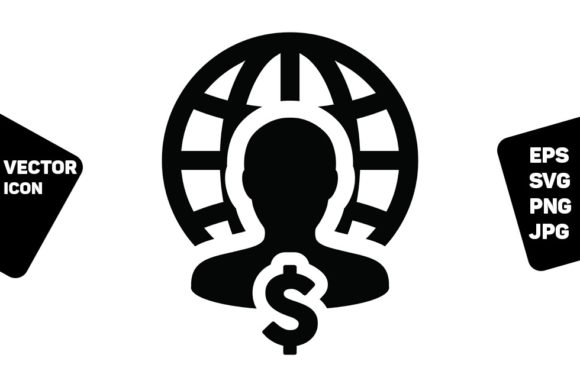 Print on Demand: Salary Icon Vector Globe Dollar Sign Graphic Icons By TukTuk Design