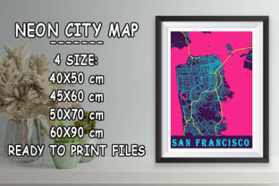 Print on Demand: San Francisco - United States Neon Map Graphic Photos By tienstencil