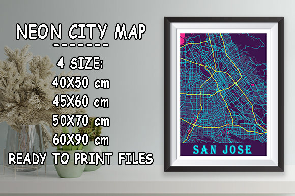 Print on Demand: San Jose - Califonia Neon City Map Graphic Photos By tienstencil