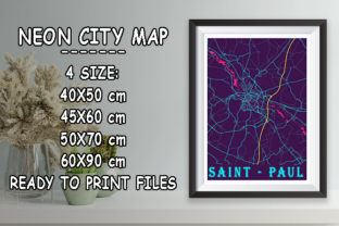 Print on Demand: Sant - Paul - France Neon City Map Graphic Photos By tienstencil