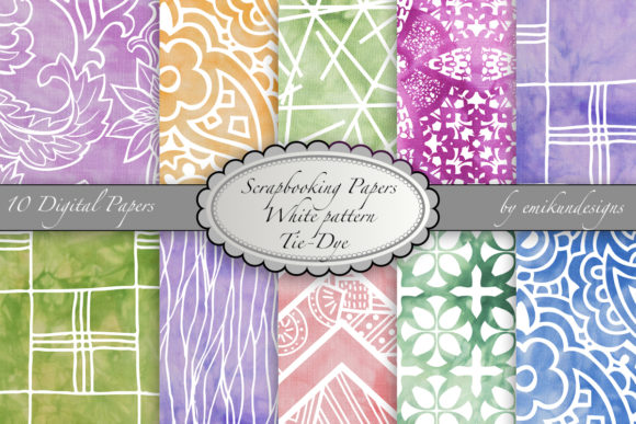Scrapbook Paper Tie-dye White Pattern Graphic Patterns By emikundesigns