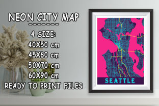 Print on Demand: Seattle - United States Neon City Map Graphic Photos By tienstencil