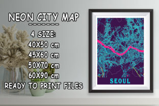 Print on Demand: Seoul - South Korean Neon City Map Graphic Photos By tienstencil