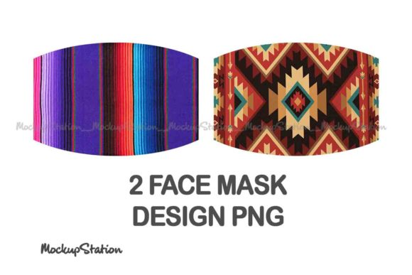 Print on Demand: Serape Face Mask Sublimation Design Graphic Graphic Templates By Mockup Station