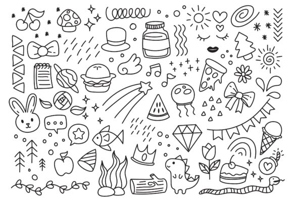 Set of Hand Drawn Doodle Elements Graphic Illustrations By Big Barn Doodles