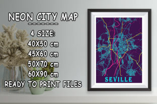 Print on Demand: Seville - Spain Neon City Map Graphic Photos By tienstencil