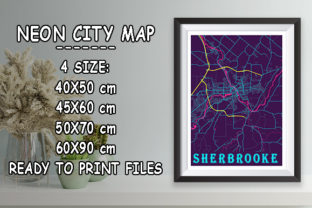 Print on Demand: Sherbrooke - Canada Neon City Map Graphic Photos By tienstencil