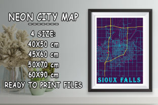 Print on Demand: Sioux Falls - United States Neon Map Graphic Photos By tienstencil