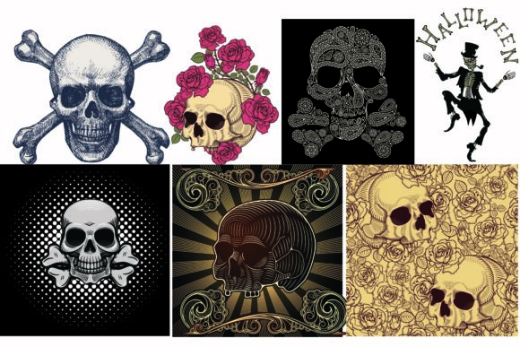 Print on Demand: Skull Illustration Vector Halloween Graphic Crafts By BOdesign