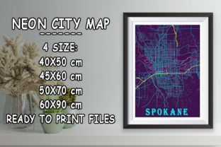 Print on Demand: Spokane - United States Neon City Map Graphic Photos By tienstencil