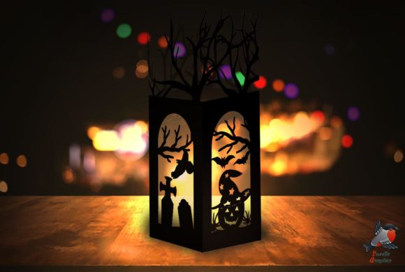 Spooky Halloween Paper Lantern Template Graphic 3D SVG By SweetieGraphics