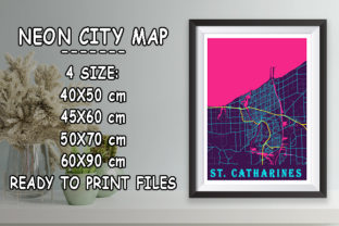 Print on Demand: St. Catharines - Canada Neon City Map Graphic Photos By tienstencil