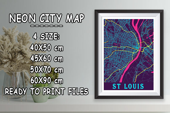 Print on Demand: St Louis - Missouri Neon City Map Graphic Photos By tienstencil