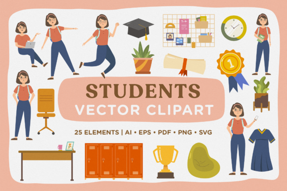 Print on Demand: Student Life Modular Vector Clipart Pack Graphic Illustrations By Telllu