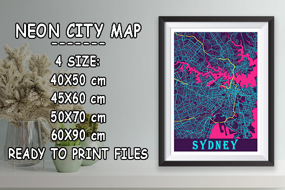 Print on Demand: Sydney - Australia Neon City Map Graphic Photos By tienstencil