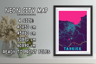 Print on Demand: Tangier - Morocco Neon City Map Graphic Photos By tienstencil