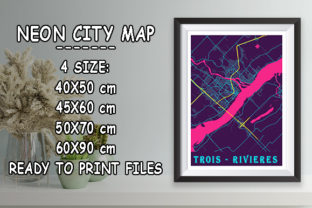 Print on Demand: Trois - Rivieres - Canada Neon City Map Graphic Photos By tienstencil