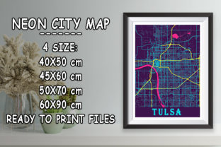 Print on Demand: Tulsa - United States Neon City Map Graphic Photos By tienstencil