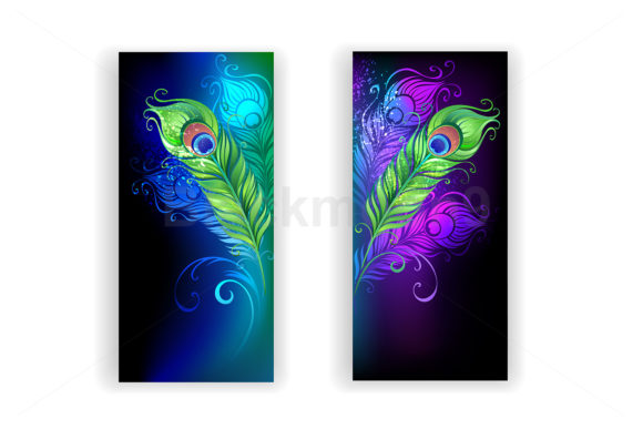 Two Banners with Peacock Feathers Gráfico Ilustraciones Por Blackmoon9