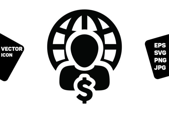 Print on Demand: User Icon Globe Dollar Sign Currency Graphic Icons By TukTuk Design