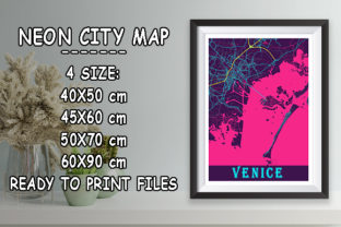 Print on Demand: Venice - Italy Neon City Map Graphic Photos By tienstencil