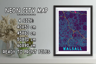 Print on Demand: Walsall - United Kingdom Neon City Map Graphic Photos By tienstencil