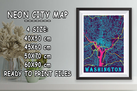 Print on Demand: Washington - United States Neon City Map Graphic Photos By tienstencil